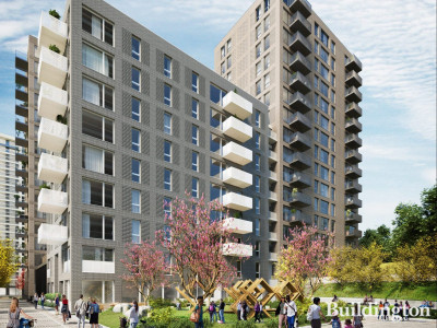 CGI of Kidbrooke Station Square development designed by Glen Howells Architects