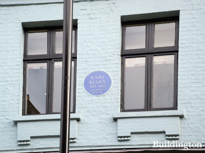 Karl Marx 1818-1883 lived here 1851-1856 - Blue plaque at 28 Dean Street in Soho, London W1.