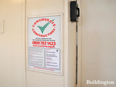 Considerate Constructors scheme poster at 8 Grosvenor Square.