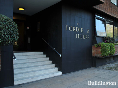 At the entrance to Fordie House on Sloane Street.