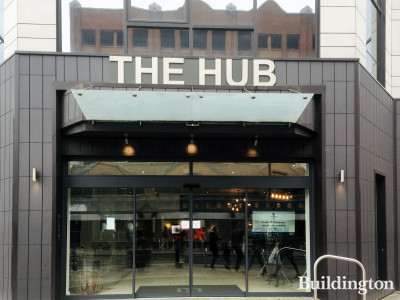 Entrance to The Hub apartments on College Road.