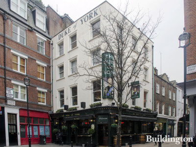 The Duke of York pub building on the corner of Rathbone Street and Charlotte Place in Fitzrovia, London W1.