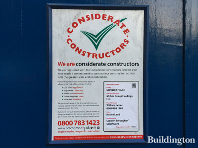 Considerate Constructors poster on Southwark Street.