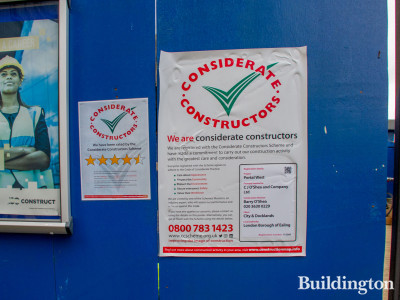 Considerate Constructors Scheme poster across the road from the development.
