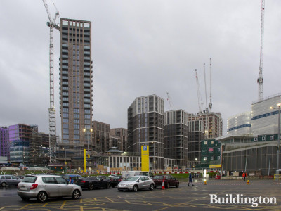 Canada Gardens development under construction in January 2020. View from the Yellow Car Park.