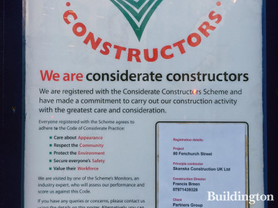 Considerate Constructors poster at 80 Fenchurch Street development. Principle Contractor: Skanska Construction UK Ltd; Client: Partners Group.