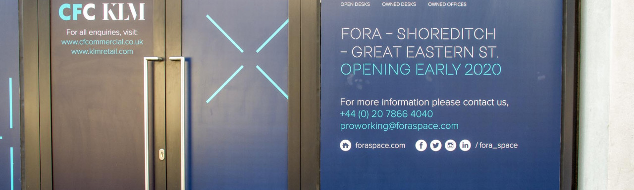 Entrance to Fora on Great Eastern Street in Shoreditch, London EC2.