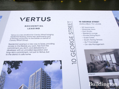Vertus information stand in Wood Wharf.