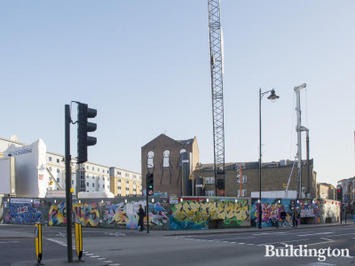 Art' Otel development site at Great Eastern Street. Stik Old Street in the background.