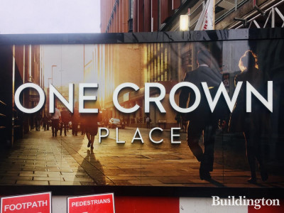 One Crown Place hoarding on Crown Place, City of London EC2.