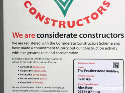 Considerate Constructors poster at the Featherstone Building development.