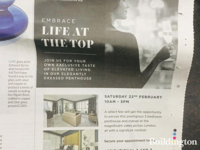 Life at The Top! Blackwall Reach penthouses launch advert in Homes & Property, Evening Standard.