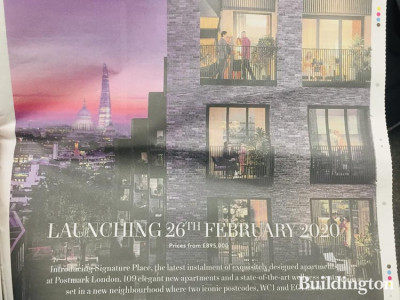Signature Place at Postmark launch advert in Homes & Property, Evening Standard.