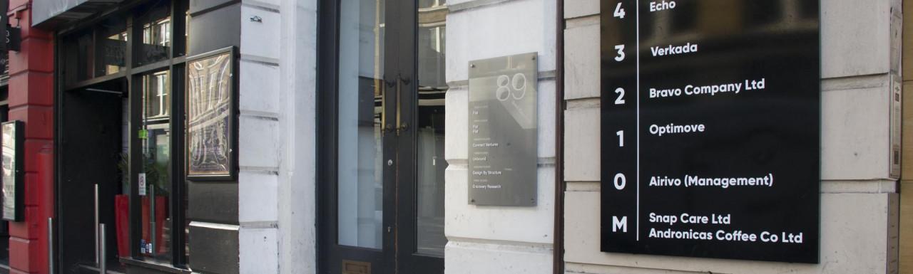 Entrance to 89 Great Eastern Street building in Shoreditch, London EC2.