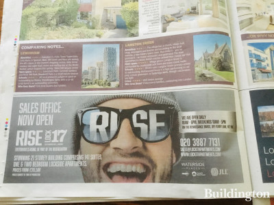 Rise at Lock 17 - Sales office now open advertisement in Metro newspaper 25.02.2020.