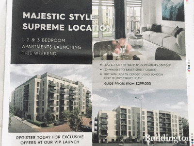 Majestic Style, Supreme Location - Queensbury Square launch ad in Metro newspaper 25.02.2020.