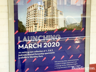 Williamson Heights advertisement inside the North Wembley station announcing the launch of the development in March 2020.