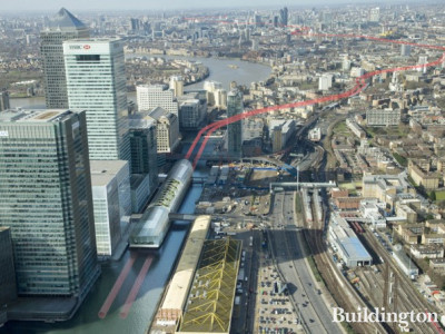 View to Crossrail Place development at North Dock from above.