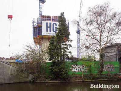 View to Minavil House development site and construction from across the canal next to 243 Ealing Road.