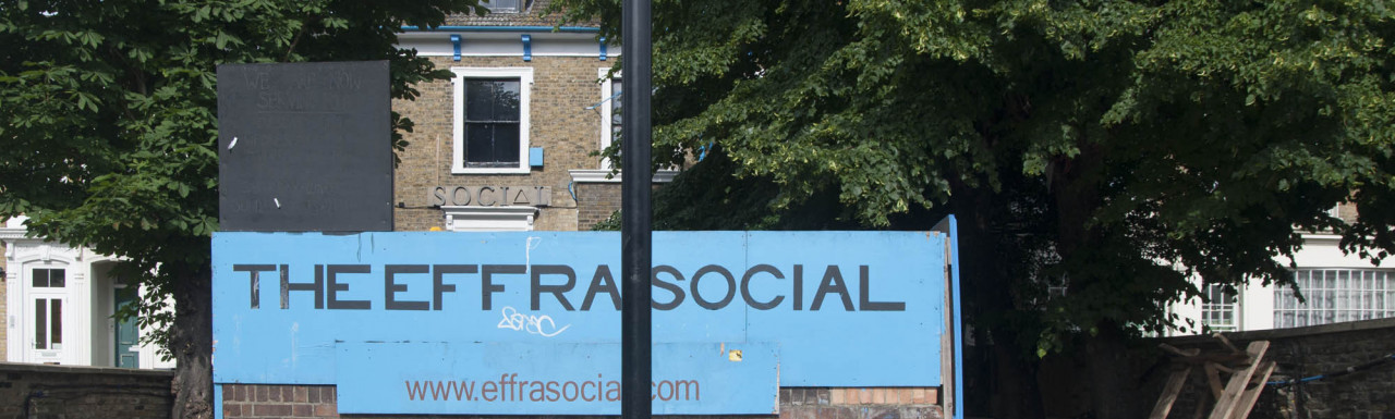 The Effra Social club building on Effra Road in Brixton, London SW2.