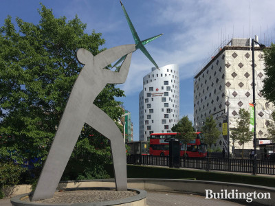 Man Catching a Star by Danny Lane (1996) next to Wembley Park Station and Victoria Hall Student Accommodation