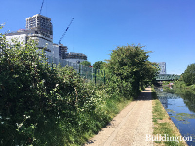 View to Oaklands Rise development from the Grand Union Canal.