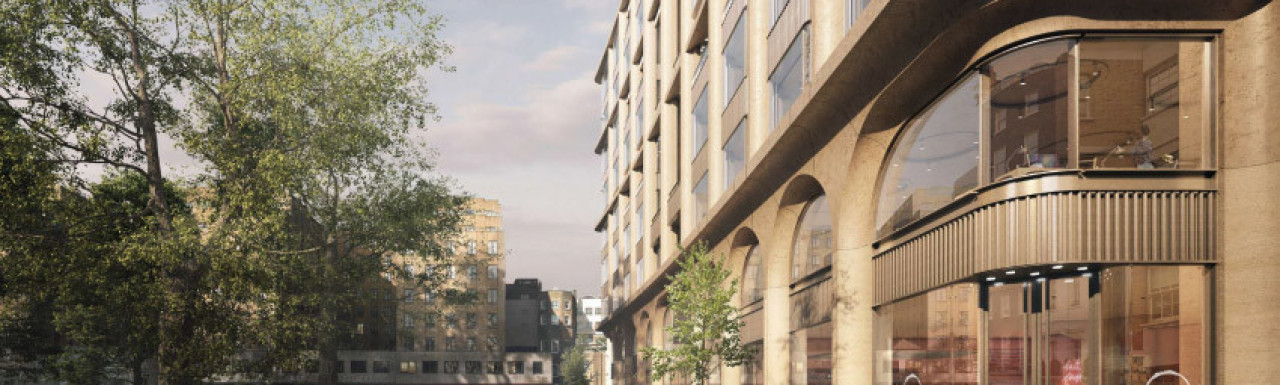 CGI of the new Lansdowne House Berkeley Square elevation designed by AHMM. Screen capture from the public exhibition boards.