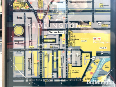 Map of Paddington Station and the surrounding streets on Spring Street.