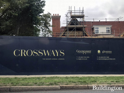 Hoarding at Crossways development. The new homes are available through estate agents Glentree and Goldschmidt & Howland.