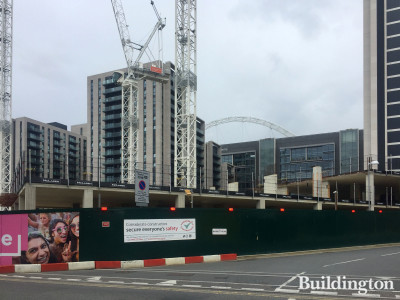 Repton Gardens in Wembley Park under construction in summer 2020. View from Fulton Road.