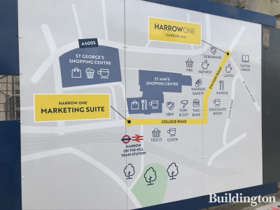 Instructions on site for locating Marketing Suite for Harrow One on College Road.