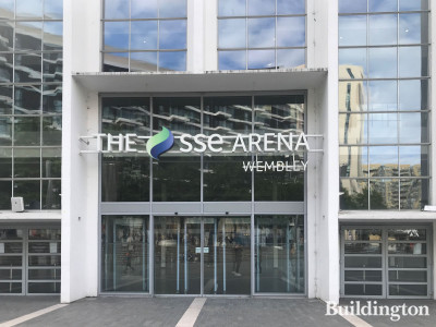 The main entrance to The SSE Wembley Arena building facing Wembley Park Boulevard.