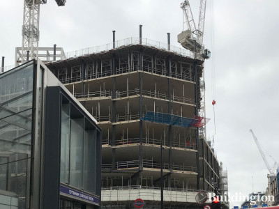 1 Soho Place development under construction. View from standing next to Centre Point and Tottenham Court Road station entrance on New Oxford Street.