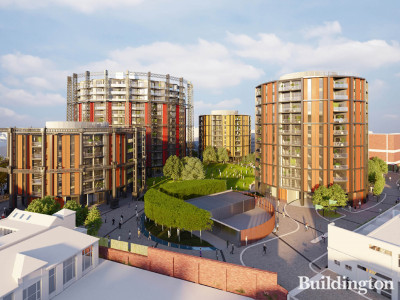 CGI of the proposed development at Marian Place Gasholder Station designed by Rogers Stirk Harbour + Partners.