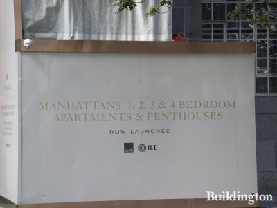 9 Millbank development hoarding on Millbank. Manhattans, 1, 2, 3 & 4 bedroom apartments and penthouses for sale through JLL.