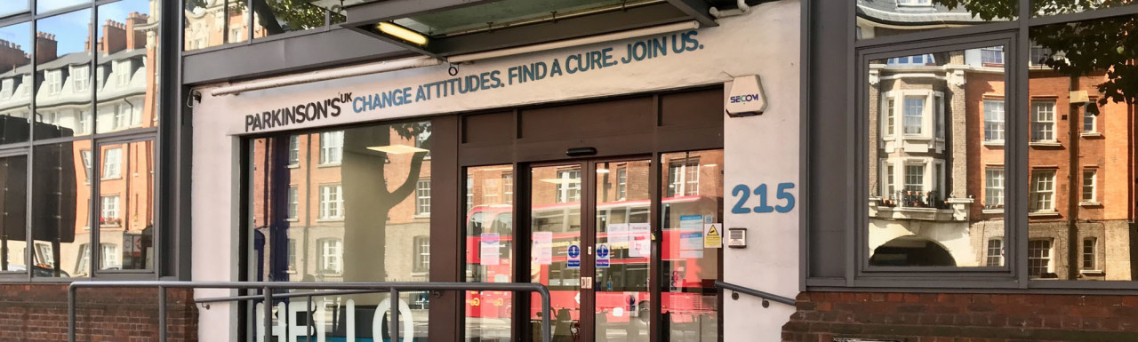 At the entrance to 215 Vauxhall Bridge Road - Parkinson's UK. Change Attitudes. Find a cure. Join us!
