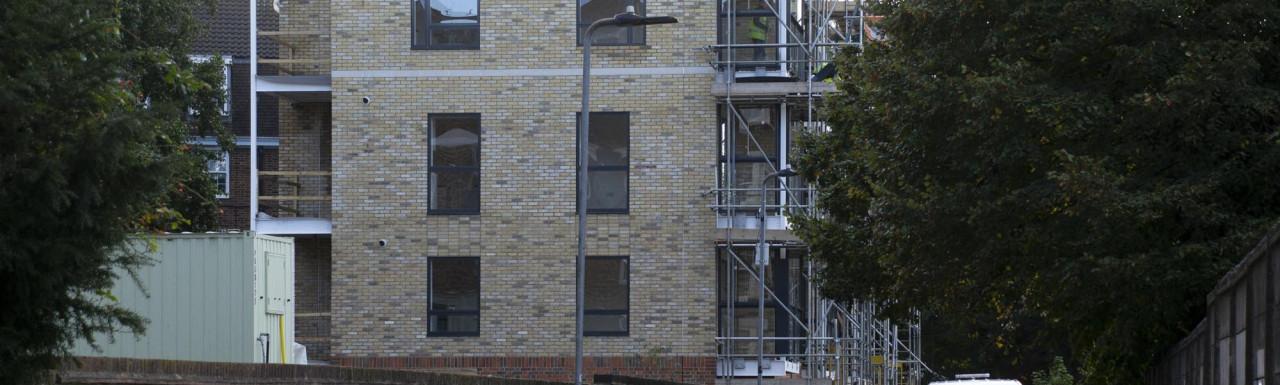 Emlyn Gardens development on Warple Way. View from Cobbold Road.