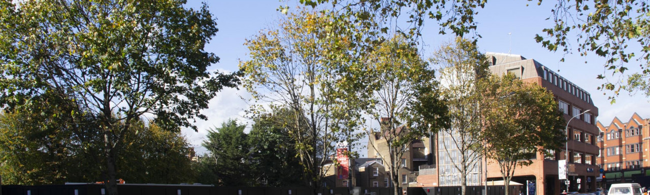 The Hoxton hotel development site on Shepherds Bush Green in autumn 2020.