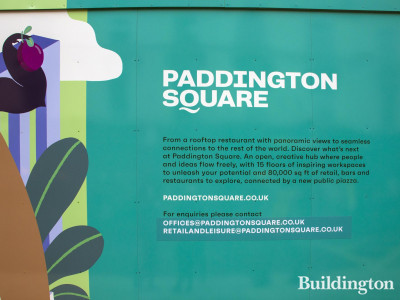 Paddington Square hoarding on Praed Street. Contact email addresses for enquiries.