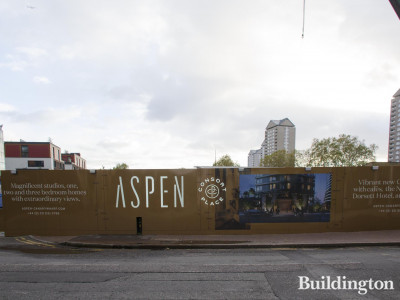 Aspen development hoarding on Marsh Wall.