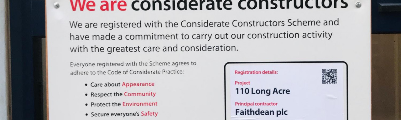 Considerate Constructors poster at 110 Long Acre.