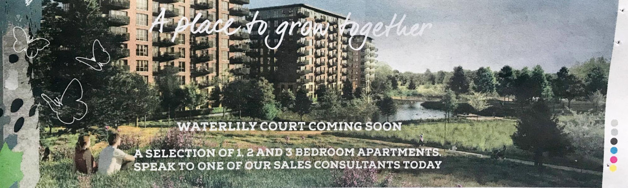 Advert in the property section of the Tuesday Morning Metro newspaper. Waterlily Court at Kidbrooke Village development is launching in December 2020.