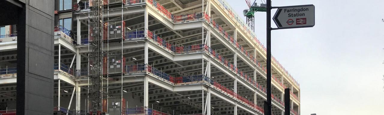 Bloom Clerkenwell development under construction on Farringdon Road.