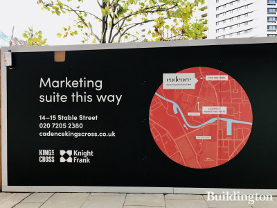 Cadence Marketing Suite location information (14-15 Stable Street) on the hoarding.