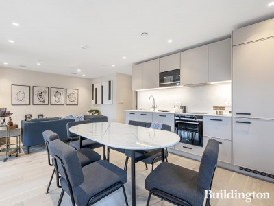 Kitchen and dining area in one of the apartments at Two Three Seven Brixton Hill.