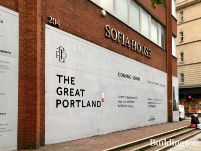 The existing Sofia House and The Great Portland development advertising.
