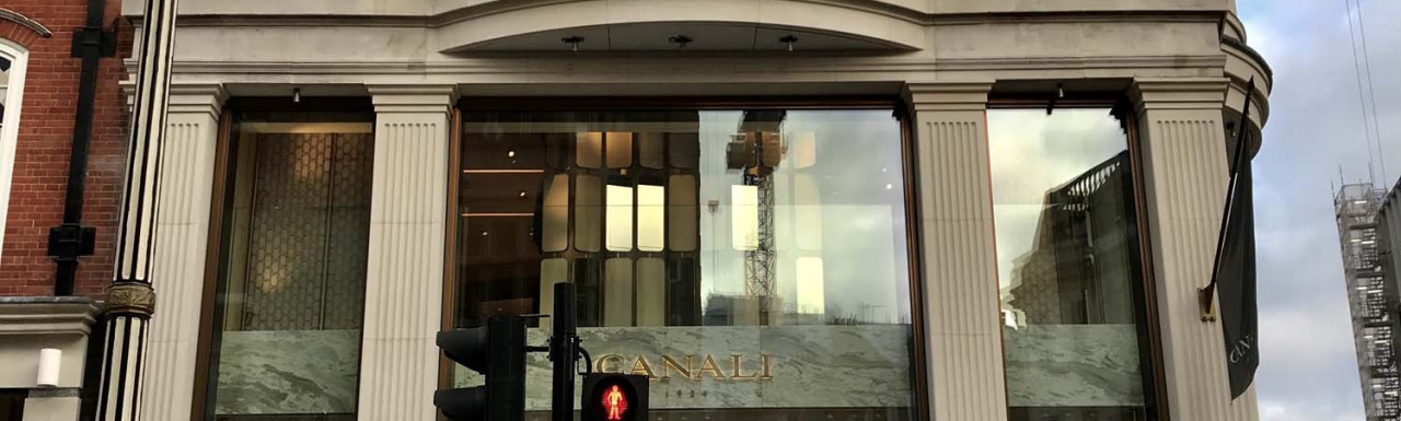 Entrance to Canali store at 64 New Bond Street.