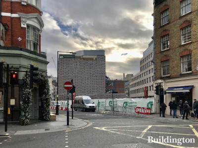 View to 50-57 Newman Street development from Mortimer Street. Mr Fogg's House of Botanicals' door to the left.