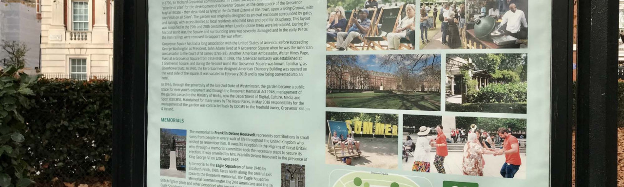 Grosvenor Square information stand in autumn 2020.