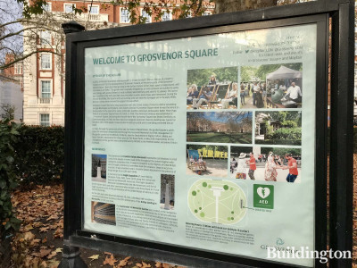 Grosvenor Square information stand in autumn 2020.